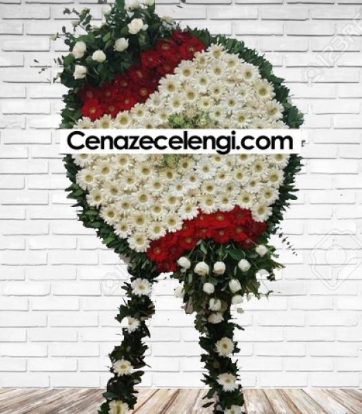 Cenaze Çelengi Beyaz Kırmızı lüx