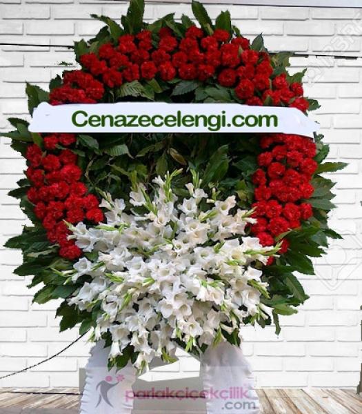 Cenaze Çelengi Beyaz Kırmızı